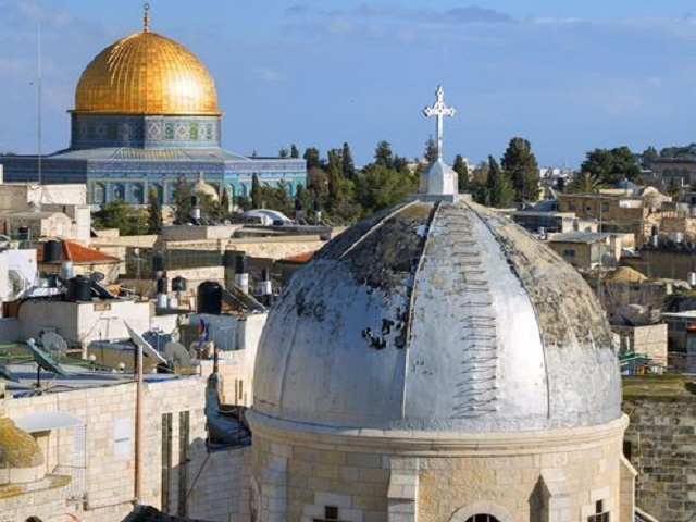 12727401 - dome of the rock and christian basilica in the old city of jerusalem, israel